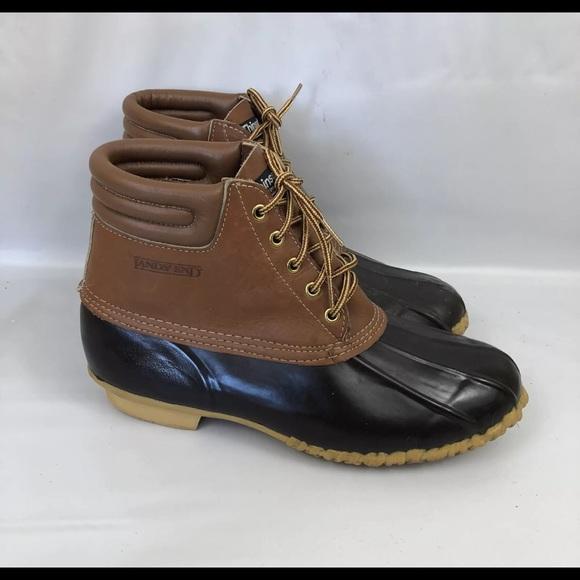 17f4c245b8e08 Lands End Men's Sz 10 Duck Boots Leather Rubber